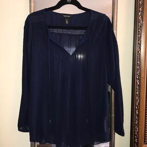 White House Black Market navy blue blouse size 4